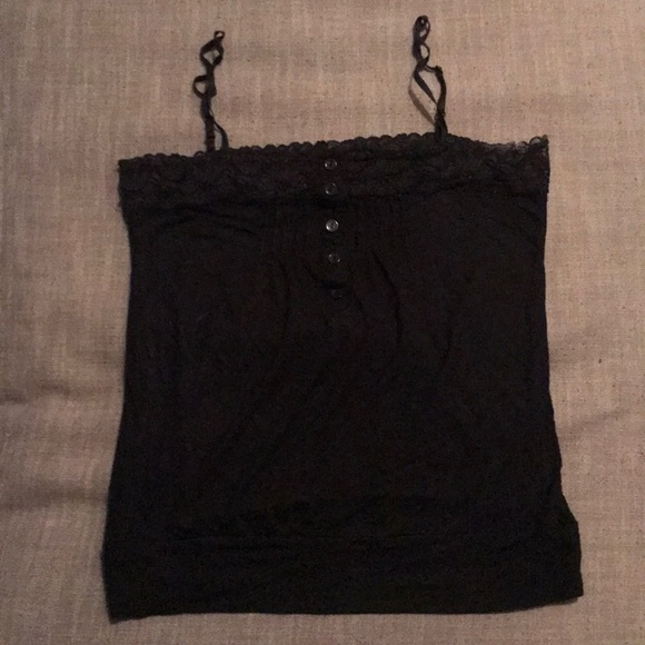 Black camisole with lace top and buttons